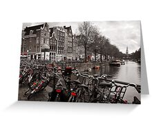 Bikes along a canal in Amsterdam Greeting Card