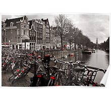 Bikes along a canal in Amsterdam Poster