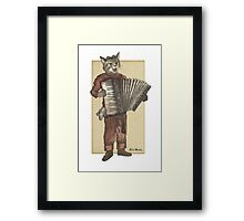 Accordion Cat with Goggles and Mask Framed Print