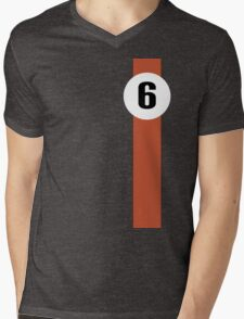 Race Winning #6 blue and orange racing livery Mens V-Neck T-Shirt