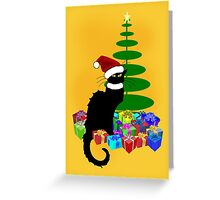Christmas Le Chat Noir With Santa Hat Greeting Card