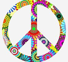 Cool Retro Flowers Peace Sign - T-Shirt and Stickers by ddtk