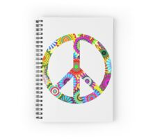 Cool Retro Flowers Peace Sign - T-Shirt and Stickers Spiral Notebook