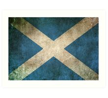 Old and Worn Distressed Vintage Flag of Scotland Art Print