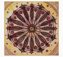 Orange mandala.Hand draw  ink and pen, Watercolor, on textured paper One Piece - Long Sleeve