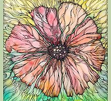 Red Poppy.Hand draw  ink and pen, Watercolor, on textured paper by Sviatlana Kandybovich