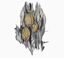 Tulip.Hand draw  ink and pen, Watercolor, on textured paper Baby Tee