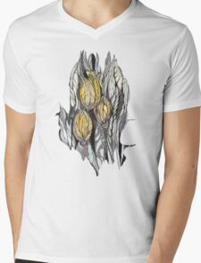 Tulip.Hand draw  ink and pen, Watercolor, on textured paper Mens V-Neck T-Shirt