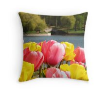 spring at the park Throw Pillow