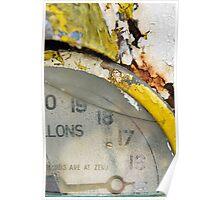Detail of a rusting petrol pump Poster