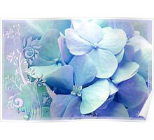 Bliss, Lavender Baby Blue Periwinkle Hydrangeas dreamy colors Poster