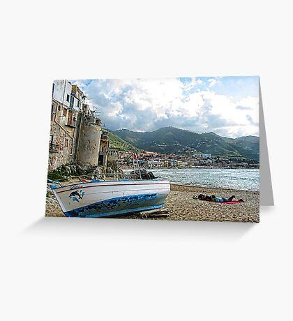 Fishing Boat - Cefalu,  Sicily Greeting Card