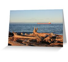 Freighter Passing by Whitefish Point Greeting Card