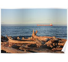 Freighter Passing by Whitefish Point Poster