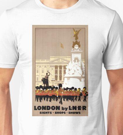 London Vintage Travel Poster Restored Unisex T-Shirt
