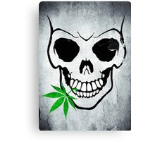 Skull with Weed -  Cool Skull with Pot Canvas Print