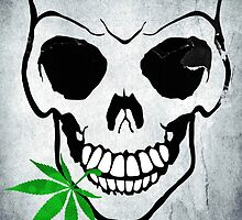 Skull with Weed -  Cool Skull with Pot by ddtk