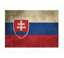 Old and Worn Distressed Vintage Flag of Slovakia Art Print