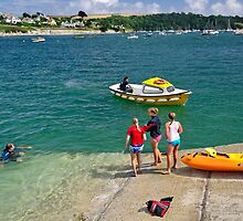 Swimmers on the Slipway, St Mawes by Rod Johnson