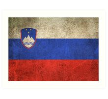 Old and Worn Distressed Vintage Flag of Slovenia Art Print