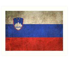 Old and Worn Distressed Vintage Flag of Slovenia Art Print