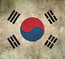 Old and Worn Distressed Vintage Flag of South Korea by Jeff Bartels