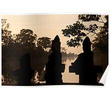 Entrance to Angkor Thom at Sunset Poster