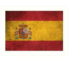Old and Worn Distressed Vintage Flag of Spain Art Print