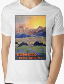 Dobbiaco Toblach Italy Vintage Travel Poster Restored Mens V-Neck T-Shirt