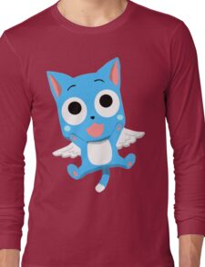 Blue Happy Anime Kitten Cat Long Sleeve T-Shirt