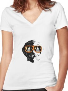 Half Man Clear Women's Fitted V-Neck T-Shirt