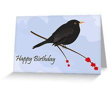 Happy Birthday / Blackbird Greeting Card