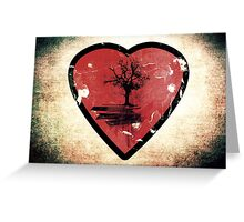 Love Nature - Grunge Tree and Heart - Earth Friendly T Shirt Greeting Card