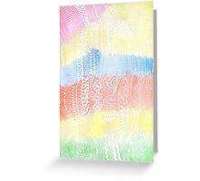 Magic Stairs - white doodle over watercolor Greeting Card
