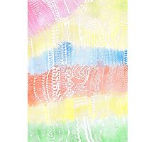 Magic Stairs - white doodle over watercolor Photographic Print
