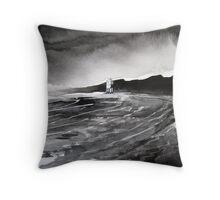 """Light in Dark # 2"" - Beach Lighthouse, Burnham-on-Sea, Somerset Throw Pillow"