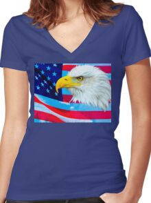 Bald Eagle Head over Stars and Stripes Women's Fitted V-Neck T-Shirt