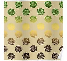 Gold And Green Floral Pattern Poster