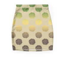 Gold And Green Floral Pattern Pencil Skirt