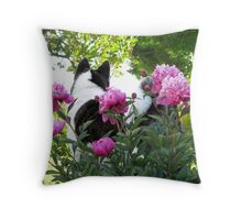 Akita With Pink Peonies Throw Pillow