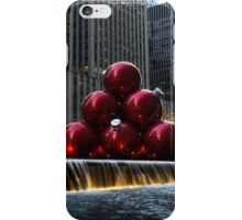 A Christmas Card from New York City - a 5th Avenue Fountain with Giant Red Balls iPhone Case/Skin