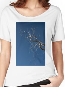 Silver and Blue - a Metal Tree Sculpture Plus Blue Sky and Sunshine Women's Relaxed Fit T-Shirt