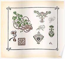 Maurice Verneuil Georges Auriol Alphonse Mucha Art Deco Nouveau Patterns Combinaisons Ornementalis 0052 Poster