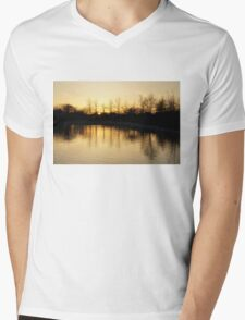 Golden and Peaceful - a Sunset on Lake Ontario in Toronto, Canada Mens V-Neck T-Shirt