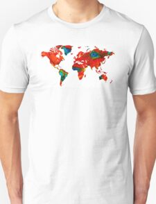 World Map 12 - Colorful Red Map by Sharon Cummings T-Shirt