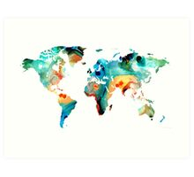 Map of The World 11 -Colorful Abstract Art Art Print