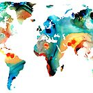 Map of The World 11 -Colorful Abstract Art by Sharon Cummings