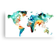 Map of The World 11 -Colorful Abstract Art Canvas Print