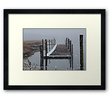 Snowy Day at the Nissequogue Boat Slips Framed Print
