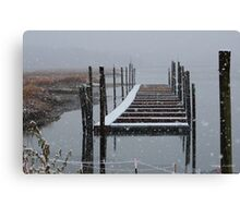 Snowy Day at the Nissequogue Boat Slips Canvas Print